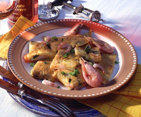 Omelette mit Krabben und Frühlingszwiebeln