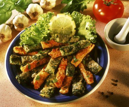 Omelettstreifen mit Gemüse und Kräutern