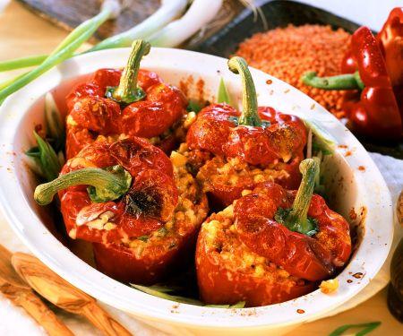 Paprika mit Mais und Linsen gefüllt
