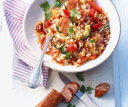 Paprika-Reis mit Wurst