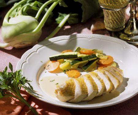 Perlhuhn in Zitronensauce mit Gemüse