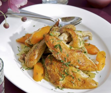 Perlhuhn mit geschmortem Gemüse