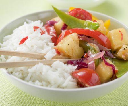 Pfannengemüse mit Ananas dazu Reis