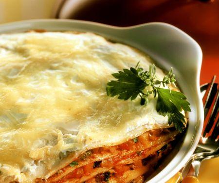 Pfannkuchen-Lasagne überbacken mit Käse