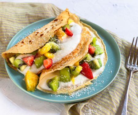 Pfannkuchen mit exotischen Früchten