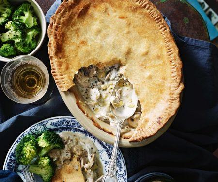 Pie mit Hähnchen, Champignons und Lauch