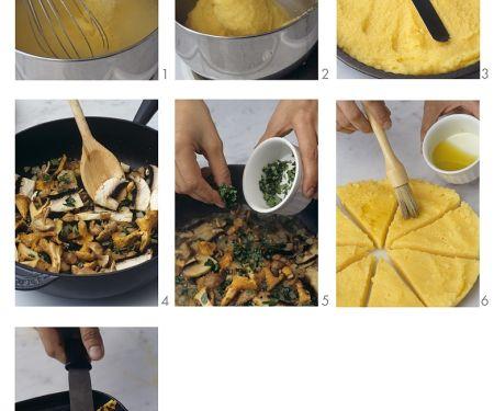 Polentataler vom Grill mit Pilzen
