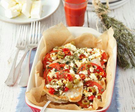 Putenbrust mit Oliven, Feta und Tomaten