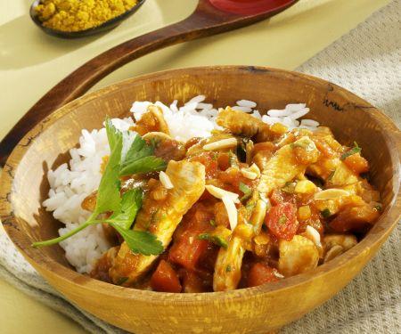 Putengeschnetzeltes in Tomaten-Curry-Sauce