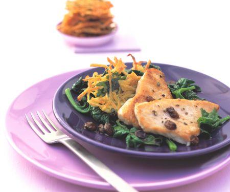Putenschnitzel mit Kartoffel-Rösti und Spinat