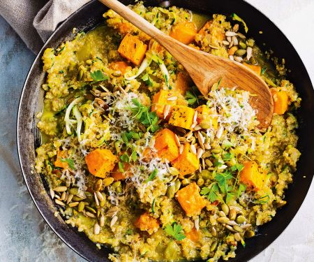 Quinoa-Risotto mit gebackenem Chili-Kürbis