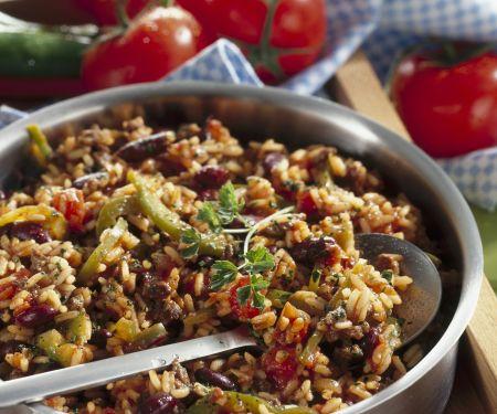 Reis-Bohnen-Pfanne mit Rindfleisch