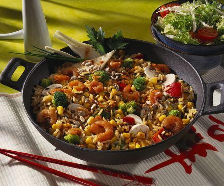 Reis-Gemüse-Pfanne mit Scampi