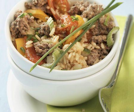 Reis-Gemüsepfanne mit Hackfleisch
