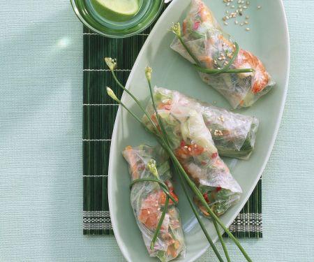 Reispapierröllchen mit Garnelen