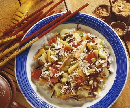 Reispfanne mit Tofu und Pilzen