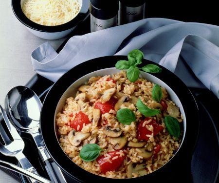 Reispfanne mit Tomaten und Champignons