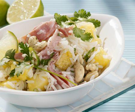Reissalat mit Schinken und Ananas