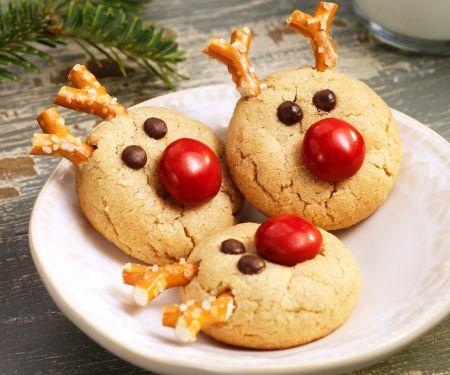 Rentier-Kekse zu Weihnachten