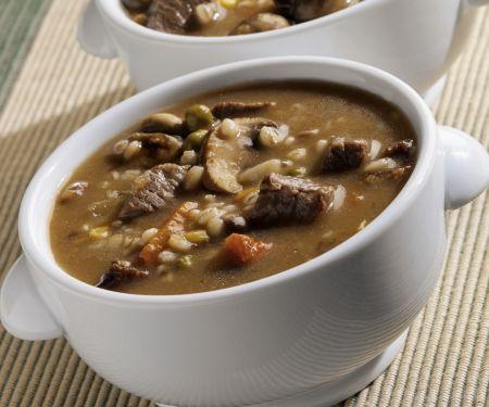 Rindfleisch-Graupen-Suppe mit Pilzen