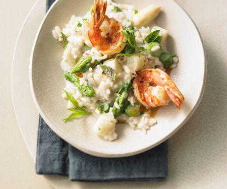 Risotto mit Shrimps und Spargel