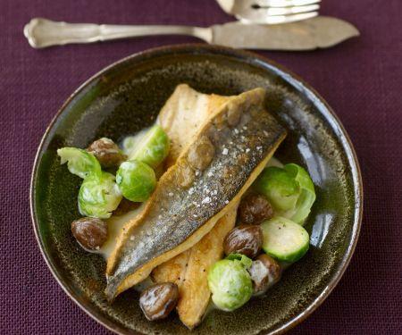 Saibling mit Rosenkohl-Maroni-Gemüse