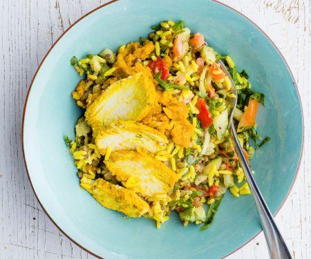 Salat-Bowl mit Kurkuma-Hähnchen