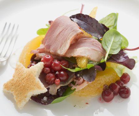 Salat mit geräucherter Entenbrust und Orangen
