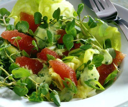 Salat nach kalifornischer Art mit Grapefruit und Frühlingszwiebeln