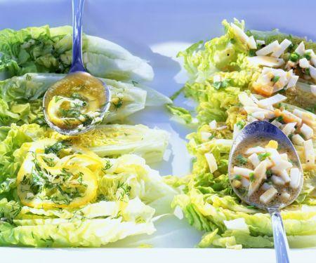 Salatherzen mit Ei-Vinaigrette und Zitronenbutter