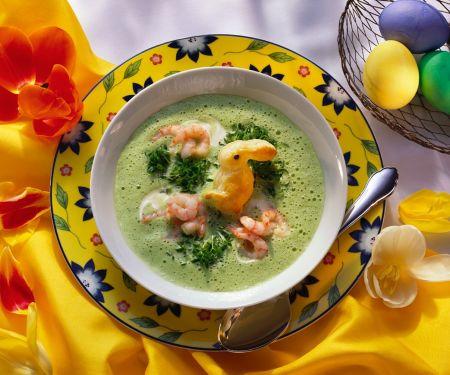 Schaumige Kressesuppe mit Osterhäschen