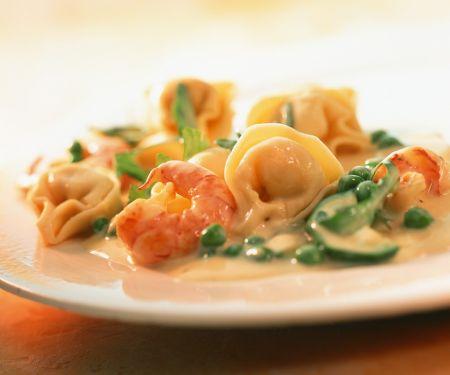Schnelle Tortellini mit Shrimps