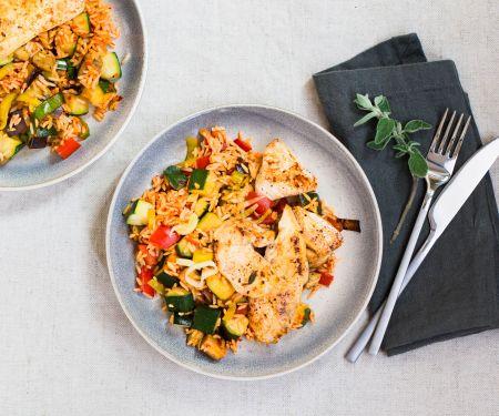 Schnelles Reis-Ofen-Gemüse mit Hähnchen