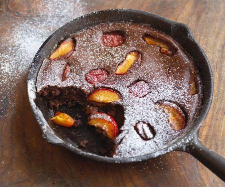 Schokoclafoutis mit Pfirsich