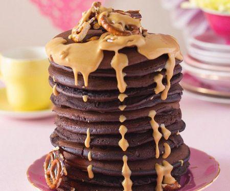 Schokoladenpfannkuchen mit Erdnussbutter