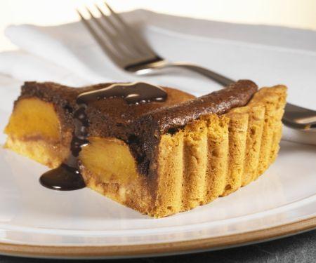 Schokoladentarte mit Pfirsich