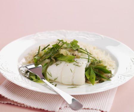 Schollenfilet mit Reis und Kräutern