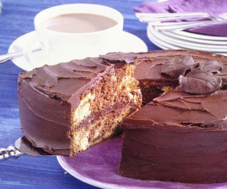 Schwarz-Weiß-Kuchen mit Orange