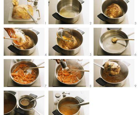 Schweinebraten mit Bratkartoffeln und Möhren