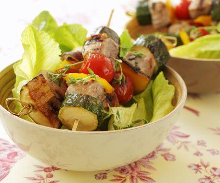 Schweinefilet-Gemüse-Spieße