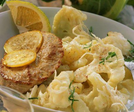Schweineschnitzel mit Blumenkohl-Kartoffelgemüse
