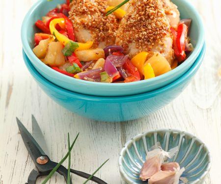Sesam-Hähnchen mit Paprikagemüse