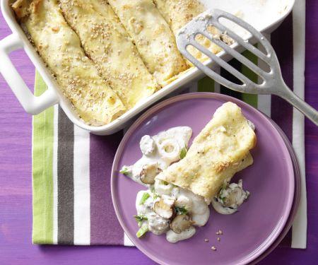 Sesampfannkuchen mit Pilzen