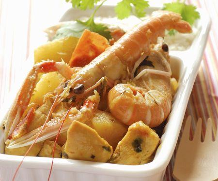 Shrimps-Hühnchen-Curry mit Ananas