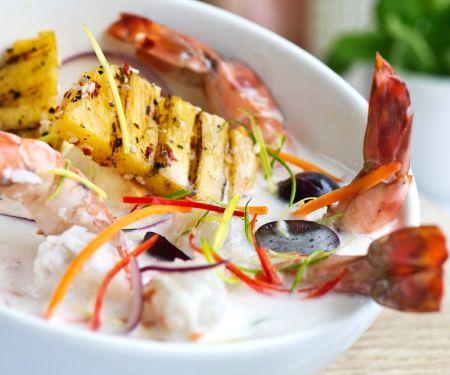 Shrimps mit Ananas in Kokossauce