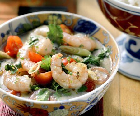 Shrimps mit scharfer Kokossoße