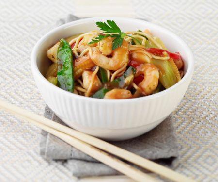Shrimps-Nudeln süßsauer