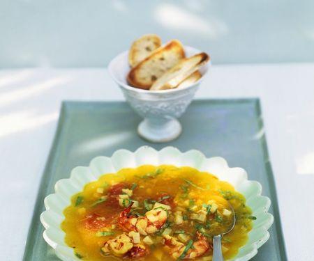 Shrimps-Suppe mit Artischocken