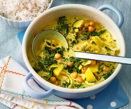 Spinat-Curry mit Erdnüssen