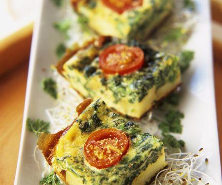 Spinat-Frittata mit Kirschtomaten